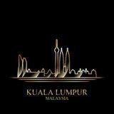 Guld- kontur av Kuala Lumpur på svart bakgrund stock illustrationer