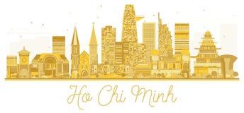 Guld- kontur för Ho Chi Minh Vietnam City horisont royaltyfri illustrationer