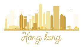 Guld- kontur för Hong Kong City horisont vektor illustrationer