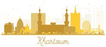 Guld- kontur för Khartoum stadshorisont stock illustrationer