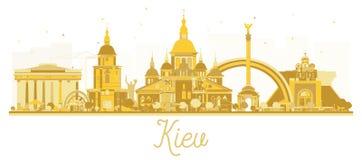 Guld- kontur för Kiev Ukraina stadshorisont