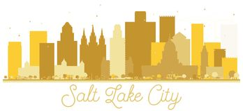 Guld- kontur för Salt Lake City Utah USA stadshorisont stock illustrationer