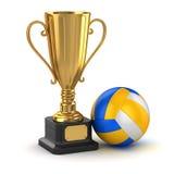 Guld- kopp och volleyboll Royaltyfri Bild