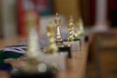 Guld- koppvinnare schack Guld- konung av schack royaltyfri bild