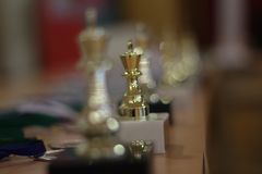 Guld- koppvinnare schack Guld- konung av schack arkivfoton