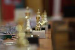 Guld- koppvinnare schack Guld- konung av schack fotografering för bildbyråer