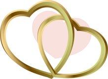 Guld- korsning hjärtor Royaltyfria Bilder