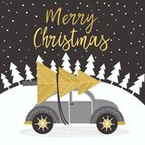 Guld- kort för glad jul med bilen vektor illustrationer