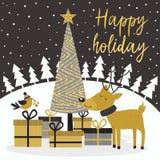 Guld- kort för glad jul med hjortar och gåvor royaltyfri illustrationer