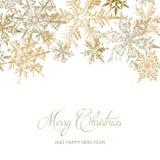 Guld- kort för snöflingajulhälsning, vektorillustrationbakgrund royaltyfri fotografi