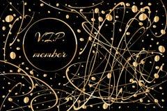 Guld- kort, lyxig bakgrund med guld- garnering på svart, vektorillustration storgubbemedlemtecken vektor illustrationer