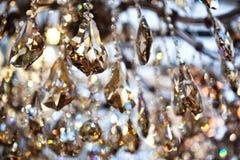Guld- kristall, abstrakt bakgrund Fotografering för Bildbyråer