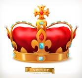 Guld- krona av konungen gears symbolen royaltyfri illustrationer