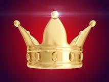 guld- krona framförande 3d Arkivbild
