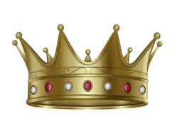 Guld- krona med diamant- och rubinvektorn vektor illustrationer
