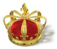 Guld- krona med juvlar stock illustrationer