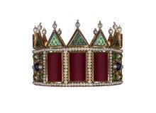 Guld- krona med juvlar som isoleras på vit royaltyfri bild
