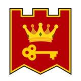 Guld- krona och tangent på vapenskölden Gjort i tecknad filmstil arkivbild
