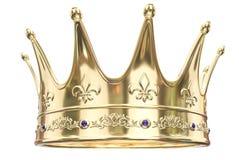Guld- krona som isoleras på vit bakgrund - tolkning 3D royaltyfri illustrationer