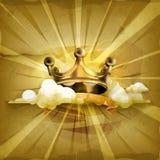 Guld- krona, vektorbakgrund stock illustrationer