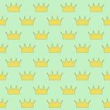 Guld- kronprinsessa eller drottning på ljus - sömlös grön bakgrund stock illustrationer