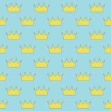 Guld- kronprinsessa eller drottning på sömlös modell för blå bakgrund stock illustrationer