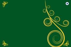 Guld- krullning och tre fjärilar med grön bakgrund Royaltyfri Illustrationer