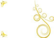 Guld- krullning och två fjärilar med vit bakgrund Vektor Illustrationer
