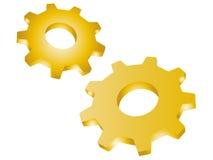 Guld- kugghjul för metall Royaltyfri Bild