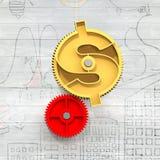 Guld- kugghjul med dollarsymbol Arkivbild