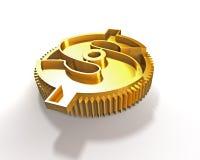 Guld- kugghjul med dollarsymbolet, illustration 3D Royaltyfri Foto