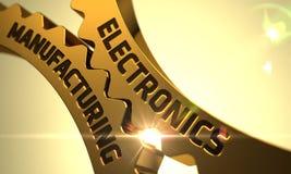 Guld- kugghjul med fabriks- begrepp för elektronik 3d Royaltyfri Foto