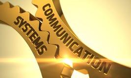 Guld- kugghjul med kommunikationssystembegrepp 3d Arkivfoto