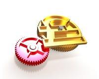 Guld- kugghjul med pundsymbolet, illustration 3D Royaltyfri Fotografi