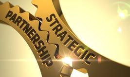 Guld- kugghjul med strategiskt partnerskapbegrepp 3d Arkivbild