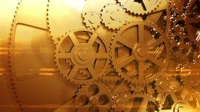 Guld- kugghjul som roterar i kretsad animering HD 1080 royaltyfri illustrationer