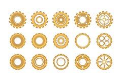 Guld- kugghjulsymbolsuppsättning Arkivfoton