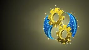 Guld- kugghjulYin-Yan symbol Branschjämvikt, affärslösning, teknologi, teknikbegrepp Abstrakt digitalt royaltyfri illustrationer