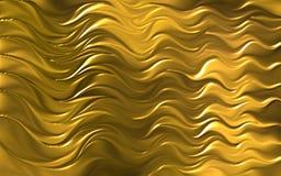 Guld- kulör för bakgrundstapet för våg 3d illustration för vektor vektor illustrationer