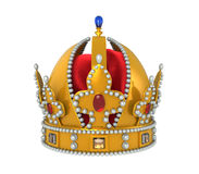 Guld- kunglig krona med juvlar Royaltyfri Fotografi