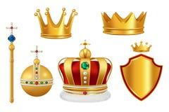 Guld- kungliga symboler Krona med juvlar för vektorn för huvudbonad för antik trumpet för riddaremonark den realistiska medeltida vektor illustrationer