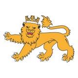 Guld- kungligt heraldiskt lejon Royaltyfria Bilder