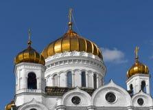 Guld- kupoler av domkyrkan av Kristusfrälsaren moscow Royaltyfri Bild