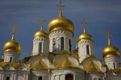 Guld- kupoler av Kremldomkyrkan Fotografering för Bildbyråer