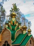 Guld- kupoler på en träkyrka arkivbild