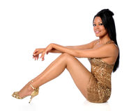 guld- kvinna för klänning Arkivbilder