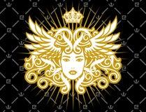 guld- lady royaltyfri illustrationer