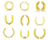 Guld- lagerkransar royaltyfri illustrationer