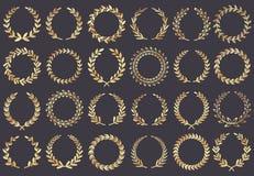 guld- lagrarkran Filmfestivalutmärkelser, tilldelad vinnareaktris, illustration för vektor för symbol för cannes filmblad royaltyfri illustrationer