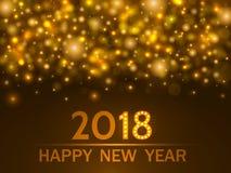guld- lampor för bakgrund Begrepp för jul och för lyckligt nytt år ljus också vektor för coreldrawillustration Arkivbild